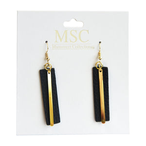 Top view of our Black Pebble Grain Accent Earrings