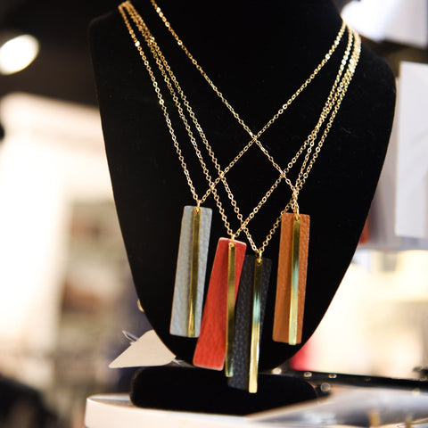 Lifestyle view of our Pebble Grain Accent Necklaces