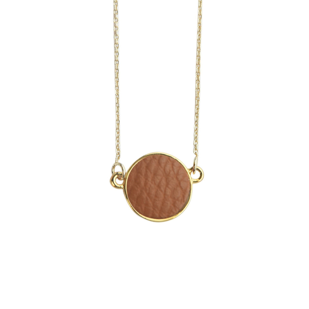 Top view of our Camel Pebble Grain Circle Necklace