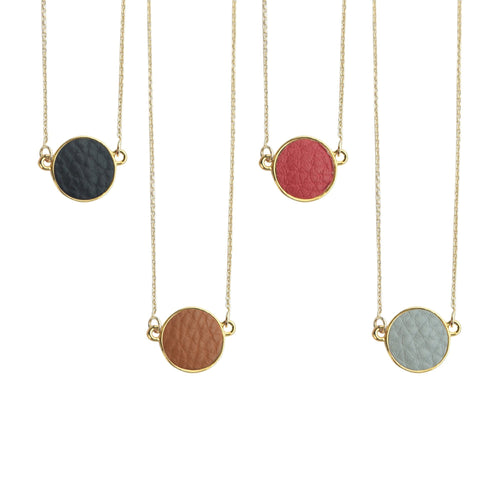 Top view of our Pebble Grain Circle Necklaces