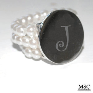 Silver Initial Disc with Pearls Ring