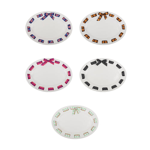 Top view of our Ceramic Ribbon Oval Platter
