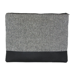 Front view of our Black Herringbone Pouch