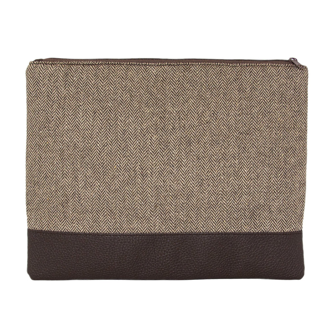 Front view of our Brown Herringbone Pouch