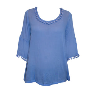 Front image of our Periwinkle Pom Pom Shirt