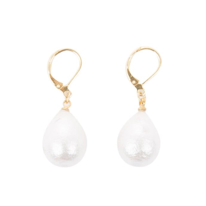 Front view of our Teardrop Textured Pearl Earrings