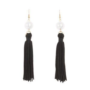 Front view of our Black Pearl Tassel Earrings