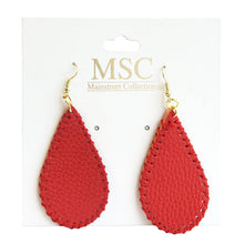 Front view of our Crimson Pebble Grain Teardrop Earrings