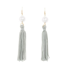 Front view of our Gray Pearl Tassel Earrings