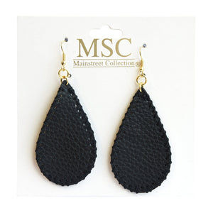 Front view of our Black Pebble Grain Teardrop Earrings