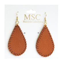 Front view of our Camel Pebble Grain Teardrop Earrings