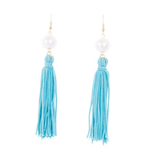 Front view of our Turquoise Pearl Tassel Earrings