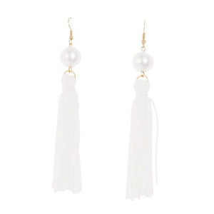Front view of our White Pearl Tassel Earrings
