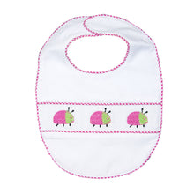 Load image into Gallery viewer, Our Hot Pink Ladybug Smocked Baby Bib