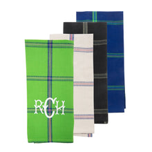 Monogrammed view of our Plaid Dish Towel