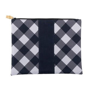 black and white check pouch with bamboo zipper pull