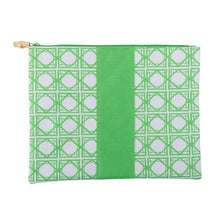 green bamboo pouch with bamboo Zipper pull
