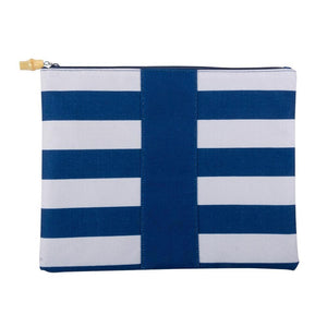 blue and white stripe pouch with bamboo zipper pull