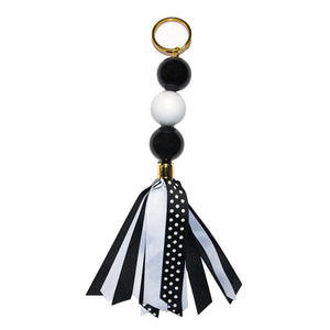 black and white ribbon keychain