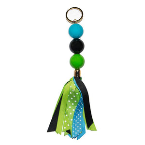 navy, turquoise, and green keychain