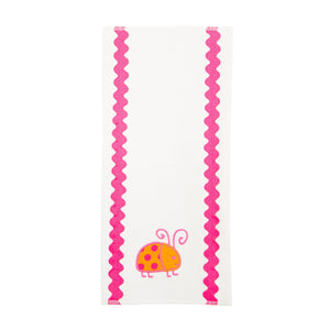 Front view of our Orange Ladybug Girl Ric Rac Icon Burp Cloth