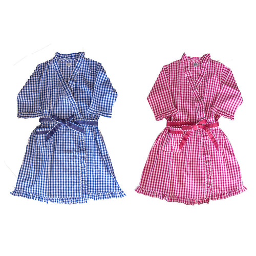 Gingham Ruffle Robe in pink and blue