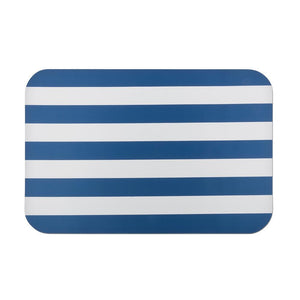 rubber navy blue stripe doormat