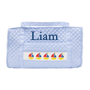 Monogrammed Smocked Blue Sailboat Duffle Bag