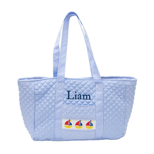 Monogrammed Smocked Blue Sailboat Tote Bag