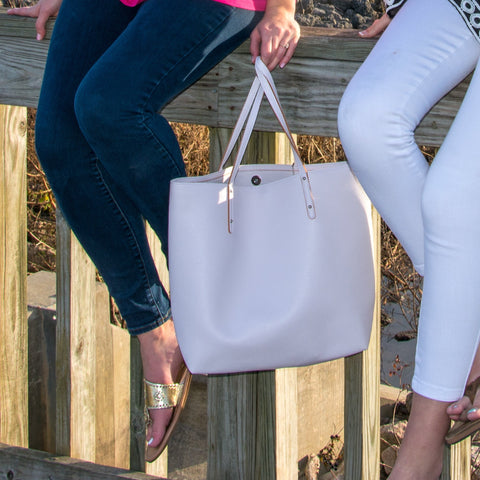 Lifestyle of our White Bucket Tote
