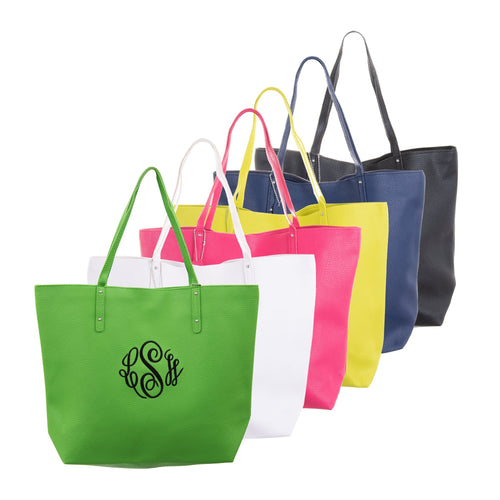 Monogrammed view of our Spring Bucket Tote Bags