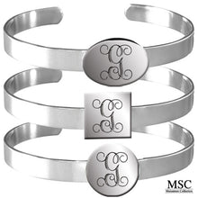 Load image into Gallery viewer, Silver Cuff Initial Bracelet