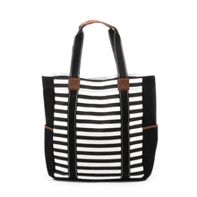 Load image into Gallery viewer, Black Stripe Beach Tote