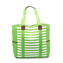 Load image into Gallery viewer, Lime Stripe Beach Tote