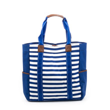 Load image into Gallery viewer, Navy Stripe Beach Tote