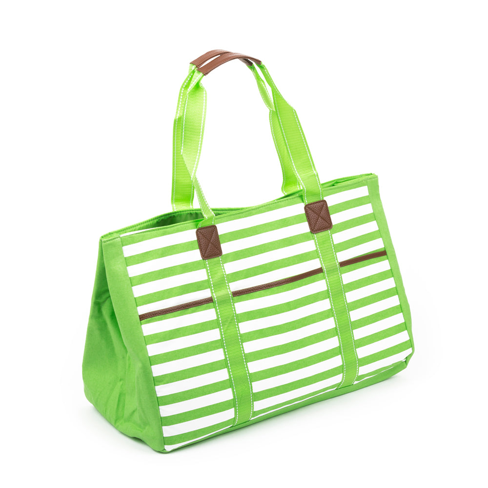 Lime Stripe Towel Tote