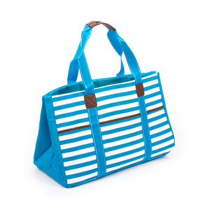 Turquoise Stripe Towel Tote