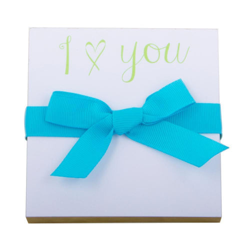 I heart you printed in lime green turquoise