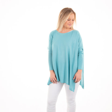 Lifestyle view of our Teal Lightweight Spring Sweater
