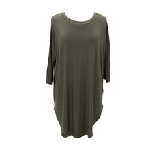 Front view of our Olive Slouch Tunic