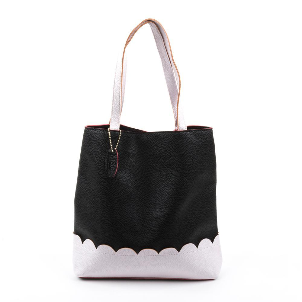 Black Scallop Handbag with White Details