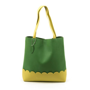 Lime Scallop Handbag with Yellow Details