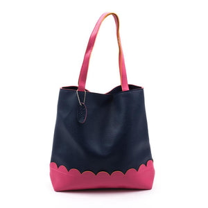 Navy Scallop Handbag with Pink Details
