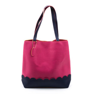 Pink Scallop Handbag with Navy Details