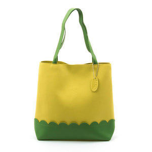 Yellow Scallop Handbag with Lime Details