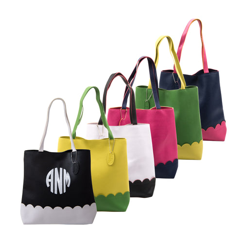 Our Monogrammed Scallop Handbags