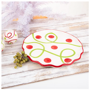 Set of 2 Holiday Ceramic Round Platters