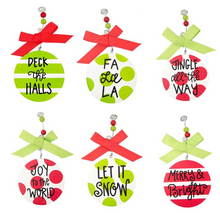 Set of 6 Flat Wood Versed Holiday Ornament