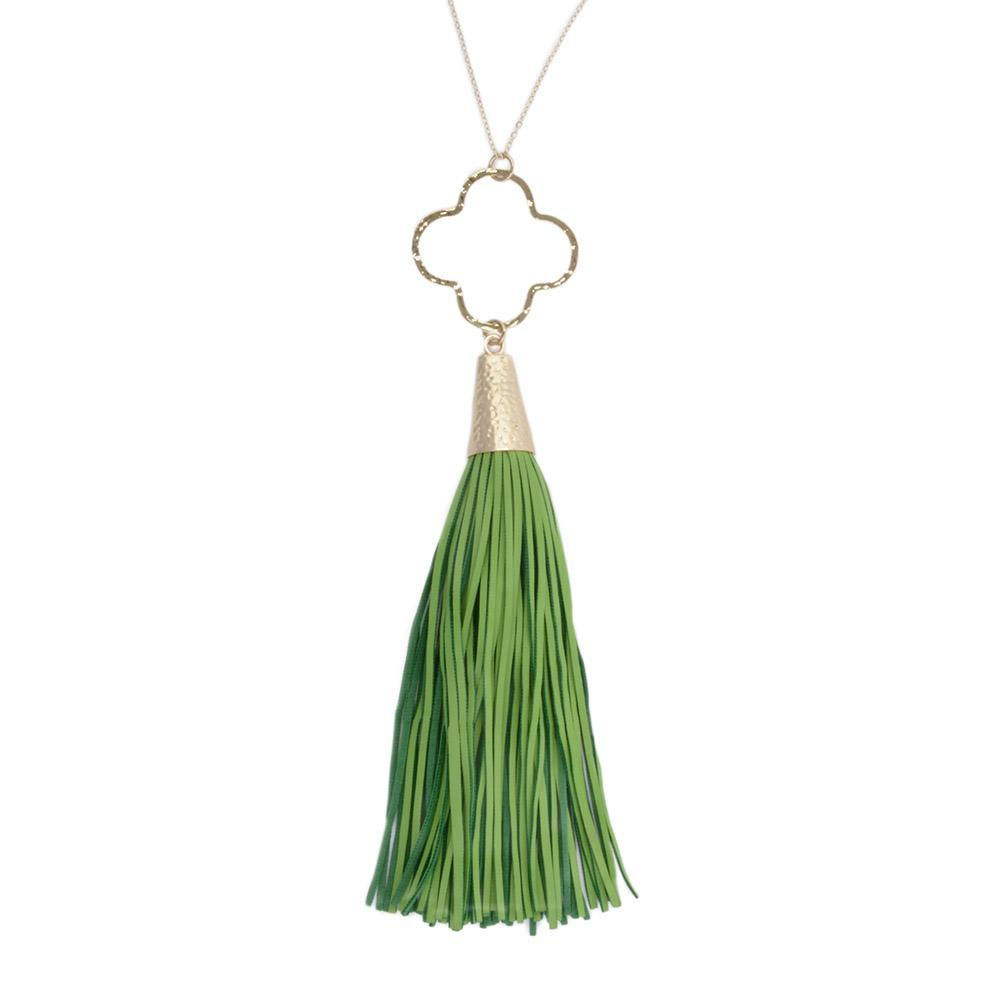 Lime Quatrefoil Tassel Necklace