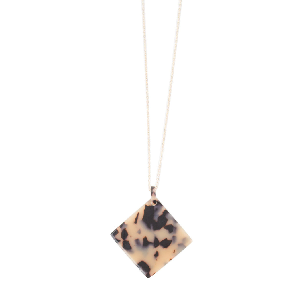 Front view of our Square Disc Blonde Tortoise Shape Necklace